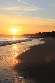 portrait sunset of sandbanks beach