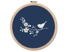 Bird on Branch, Counted Cross stitch, Pattern PDF, Cross Stitch Chart , Cute Cross Stitch, Cross stitch pattern, pixel art, 0178