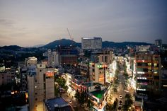 Sinchon. This is the neighborhood where I lived in 2010 when I was an exchange student Seoul, South Korea.  The area is filled with bars, restaurants, motels, gaming lairs, a spa... anything a college student could imagine needing.