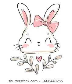 Stock Photo and Image Portfolio by Alsu Gizzatullina Baby Girl Clipart, Bunny Drawing, Doodle Lettering, Cute Animal Drawings, Cute Chibi, Hand Embroidery Patterns, Drawing Lessons, Cute Illustration, Cute Stickers