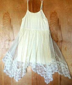 1adab434e7efef NEW M.L. ML KIDS Girls Ivory Cream Asymmetrical Hem Lace Tulle Dress 8 10 12