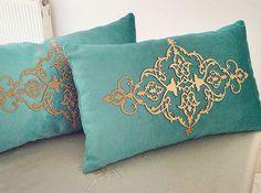 Deri kadife kırlent / leather velvet pillow
