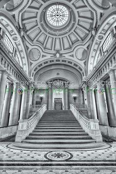 """The stairs leading to Memorial Hall inside Bancroft Hall, the largest dormitory in the world, located at the US Naval Academy in Annapolis, Maryland. A replica of the historic battle flag with the words """"Don't Give Up the Ship"""" is on display in Memorial Hall and can be seen through the doorway at the top of stairs.  Prints available at http://clarence-holmes.artistwebsites.com/featured/us-naval-academy-bancroft-hall-ii-clarence-holmes.html"""