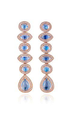 Rose Gold, Moonstone and Diamond Earrings by Dana Rebecca Designs