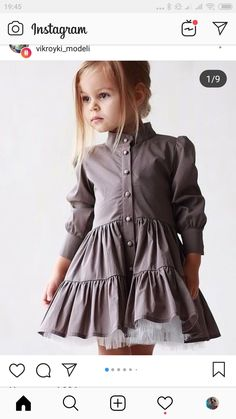 Beautiful fashion little girl in a gray dress adorable girl fashionkids salvabrani Little Girl Fashion, Fashion Kids, Trendy Fashion, Toddler Outfits, Girl Outfits, Mode Lolita, Diy Vetement, Kids Frocks, Dresses Kids Girl