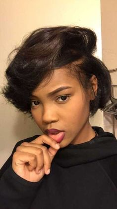 Buy this high quality wigs for black women lace front wigs human hair wigs african american wigs the same as the hairstyles in picture Cute short bob wigs for black women human hair wigs lace front wigs hairstyles Black Girls Hairstyles, Short Hairstyles For Women, African Hairstyles, Weave Hairstyles, Short African American Hairstyles, Ponytail Hairstyles, Trending Hairstyles, Latest Hairstyles, Gorgeous Hairstyles
