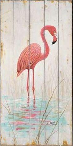 Arnie-Fisk-Flamingo-Keilrahmen-Bild-Leinwand-Voegel-Holzbrett-rosa