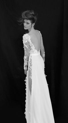 Wedding Dresses, long sleeves, backless, bridal gown, lace, slit