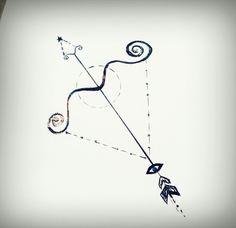 Não se trata apenas de uma flecha de centauro. Há nela uma pequena referência a constelações, símbolo da paz, olho grego e um detalhe lembrando a balança de libra em seu arco. :D♐