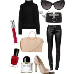 T by Alexander Wang Chunky-knit turtleneck sweater, CURRENT/ELLIOTT Ankle Skinny Leather, Givenchy 'Antigona' bag, GIVENCHY Shark Effect Leather Wrap Bracelet in Black, GUCCI 3510/s oversized cat eye sunglasses, Louis Vuitton Merry-go-round pump in leather, Diamond Stud Earrings.