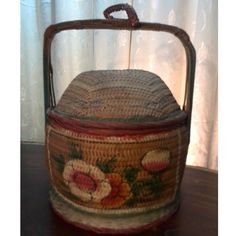 Antique Traditional 1 tiers Hand made Painted Bamboo Carrier from Melaka, Malaysia.Mid 1900Height: 42cmDia: 29cmCondition: Paint on the cover and side have tarnish due to wear and tear. The side have some broken parts