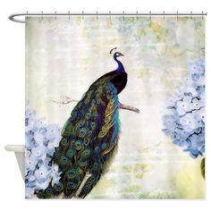 Peacock and hydrangea Shower Curtain