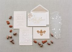 Honey theme wedding invites...so cute! From http://iloveswmag.com/2012/11/14/southern-weddings-v5-honey-pecan/  Photo Credit: http://msp-photography.com/  Stationary and Paper Goods by http://ericaloesing.com/
