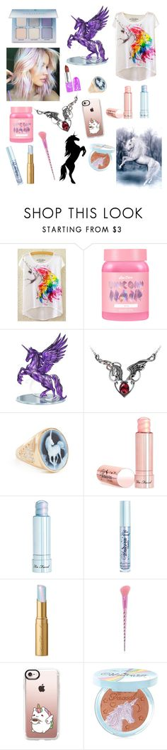 """""""Watch her sparkle,the last unicorn..."""" by bobthechob ❤ liked on Polyvore featuring beauty, Lime Crime, Jacquie Aiche, Too Faced Cosmetics, Forever 21 and Casetify"""