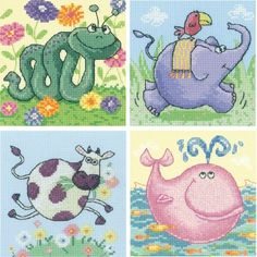 Cross Stitch Critters Set Of 4 Kits - Cow, Elephant, Whale & Snake by Heritage Crafts - £48.00 on Past Impressions