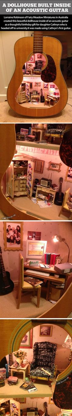 Acoustic dollhouse. Love this. Especially if you have a broken guitar around.