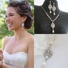 GRACE, Bridal Necklace, Wedding Jewelry SET, Wedding Earrings, Victorian Style Statement, Ivory or White Swarovski Pearl and Crystal Jewelry on Etsy, $159.20 AUD