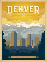 Denver, Colorado - After winning international acclaim for creating the Spirit of Nashville   Collection, designer and illustrator Joel Anderson set out to create a   series of classic travel posters that celebrates the history and charm   of America's greatest cities. This lovely print depicts the majestic view of the Great Rocky Mountains towering above the Mile-High City.