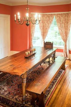 Rustic Pine farm table with matching benches