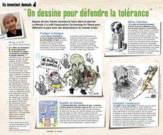 """""""On dessine pour défendre la tolérance"""", l'action de l'association Cartooning for peace qui défend la paix avec des dessinateurs du monde entier (Phosphore, mai 2014) A télécharger sur http://www.bayard-jeunesse.com/Actualites/Donner-aux-enfants-et-aux-adolescents-des-cles-pour-comprendre-l-actualite-de-ces-derniers-jours"""