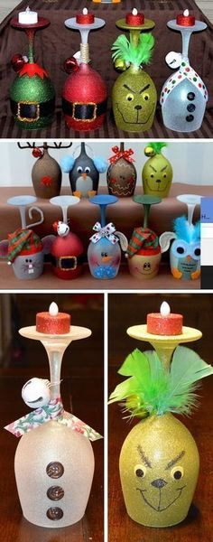 Christmas Wine Glass Candle Holders | Click Pic for 22 DIY Glass Craft Ideas for the Home | Easy Crafts to Make and Sell #diycraftstosell #candlemakingideas #craftstomakeandsell #candleholder #makewinediy
