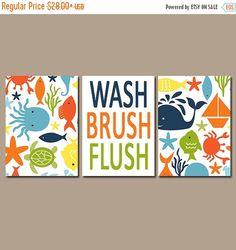 OCEAN BATHROOM, Child Bathroom Wall Art, Canvas or Prints Nautical Sea Life, Girl Boy Bathroom, Wash Brush Flush Set of 3 Kid Bathroom Rules by TRMdesign on Etsy https://www.etsy.com/listing/205234001/ocean-bathroom-child-bathroom-wall-art