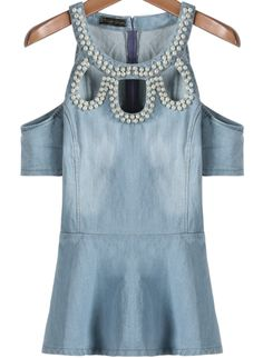 Blue Off the Shoulder Bead Hollow Denim Top US$23.88