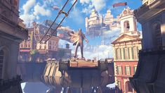 A screenshot from the game Bioshock Infinite by 2k games.  This game has such an awesome setting- a floating city perched atop airships.  Just walking around the city when playing the game you can see how much work went into creating the city in the sky and I think it really paid off.