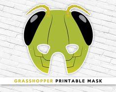 Grasshopper Printable Mask Bug Head Mask Green by theRasilisk