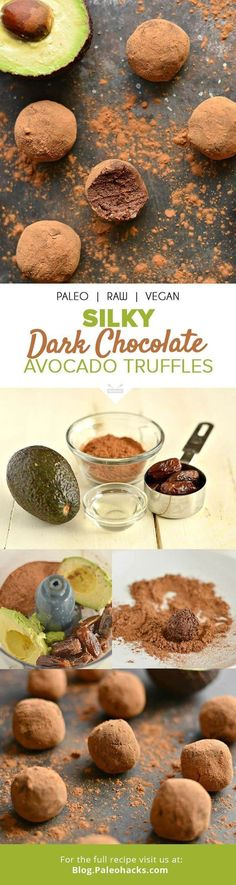 The secret behind these creamy chocolate truffles that taste sinfully good? A powerful, healthy ingredient: avocado! Get the recipe here: Desserts Crus, Desserts Sains, Raw Desserts, Chocolate Desserts, Paleo Chocolate, Low Carb Dessert, Paleo Dessert, Dessert Recipes, Food Cakes