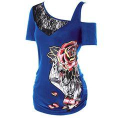 a728c67d679d Leiusn---tops Frauen Tops, Mode Slips trendy Avantgarde Frauen Spitze Panel  Rose Print Kurzarm Skew Kragen T-shirt Tops Bluse von Leisun Top-Verkäufer  ...