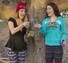 Patterned leggings, fun hoodies and bright colored hats, show off fall colors
