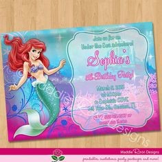ariel invitation little mermaid invitation ariel sparkle printable party invite custom personalized digital - Little Mermaid Party Invitations