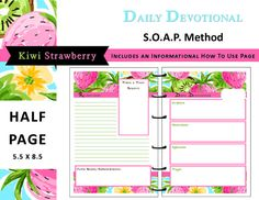 Lilly Inspired Printable Daily Devotional S.O.A.P Method - Half Page size by myunclutteredlife #dailydevotional, #biblestudy, #printable
