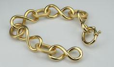 pulseira elos infinito fosco/polido ouro 18k