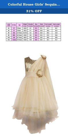 Colorful House Girls' Sequined Trailing Flower Formal Wedding Party Dress Gold, L(6) (Size 10). Bling sequined sleeveless bodice with flower bow on waist.Class trailing design, which is elegant. Hidden zipper back closure. Great for Wedding Party, Christening, Fairy Princess Party, Birthday Party and Other Dress up party. Notice: 1. Please check the size chart before buying. 1-3cm size difference is in normal range. 2. Color may have a little difference due to lights, screens, etc…