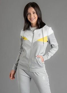 GK Elle POLY Tracktop Grey Yellow New Gym King womens Summer 2019 collection Womens Track Top Grey heather white and yellow Style Elle Cuffed sleeves Adjustable drawstring hood machine wash Slim Fit Boys Clothes Style, Mens Jogger Pants, Uniform Shirts, Grey Yellow, Yellow Style, Heather White, Yellow Fashion, Clothing Hacks, Sporty Outfits