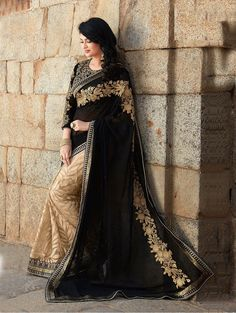 Black and Cream Georgette Saree with Embroidery Work