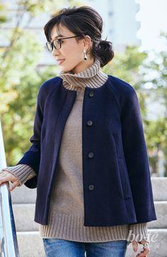 初冬の休日スタイルの定番ボリュームニットとデニムで毎年恒例のホームパーティーへ2 Japanese Beauty, Stitch Fix, Street Style, Coat, Jeans, Sweaters, How To Wear, Jackets, Clothes
