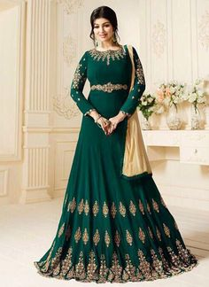 Shop for bollywood salwar kameez online including Ayesha Takia green embroidered and resham work floor length anarkali suit at it's best price.