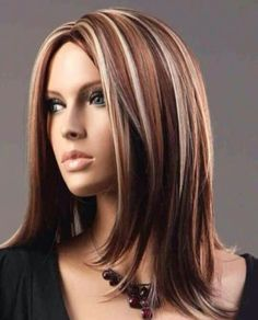 Hair color ideas for Brunettes: Brunette with a mix of blonde and red highlights. Pretty!