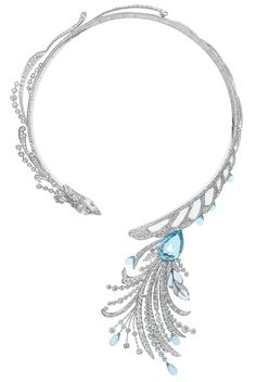 18kt white gold Paon de Lune (Moon Peacock) necklace set with white diamonds, rock crystal and aquamarine by Katerina Perez