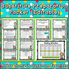 When you need to be out and call a substitute teacher, rest assured that the routines are followed with this packet.  From critical info such as fire drill routines to clerical issues such as attendance, this packet will give a newcomer insight into how the daily routines of your classroom work.