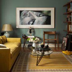 Wohnideen Wohnzimmer-gelb grün-Retro-Klassik Einrichtung
