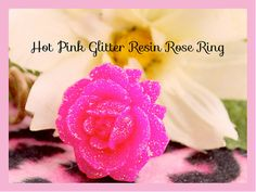 Rose Ring Valentine Shocking Pink Glitter Open by tranquilityy