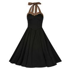 Swing Carola lange jurk zwart - vintage, 50's, rockabilly, retro