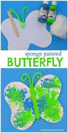 Loofah sponge painted butterfly craft for kids. Great spring or summer craft for kids. daycare crafts free printable Sponge Painted Butterfly Craft for Kids Bug Crafts, Daycare Crafts, Classroom Crafts, Fall Crafts, Insect Crafts, Adult Crafts, Nature Crafts, Resin Crafts, Daycare Ideas