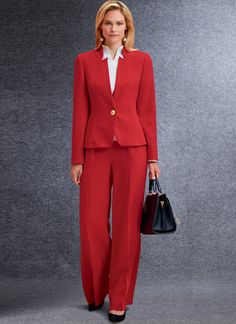 V1741 | Misses' Jacket, Top, Dress, Pants and Jumpsuit | Vogue Patterns Jumpsuit Pattern, Pants Pattern, Corsage, Nylons, Pantalon Large, Business Outfit, Vogue Sewing Patterns, Fashion Line, Overall