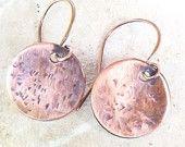 Textured copper disc dangle earrings