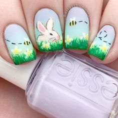 "🐰Easter Nails🐰 - Happy Easter :) - Products: UNT Peel Off Base Coat Essie ""mint candy apple"" and ""lilacism"" Acrylic paint and Mitty Burns… Pretty Christmas Trees, Christmas Tree Pattern, Christmas Nail Art, Mint Candy Apples, White Nails, Red Nails, Feast Of Love, American Nails, Easter"